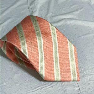 Luigi Borrelli Pink Green White Stripe Tie 3 Fold